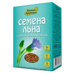 """Семена льна """"Компас Здоровья"""" с селеном, хромом, кремнием 200г"""