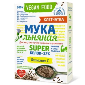 """Мука льняная Vegan Food """"Питайся правильно"""", Компас Здоровья, 300 гр"""