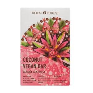 Шоколад белый с малиной ROYAL FOREST Vegan Coconut Bar