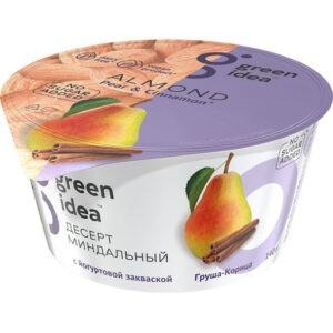 """Десерт миндальный Green Idea с йогуртовой закваской """"Груша-корица"""" без сахара, 140 г"""