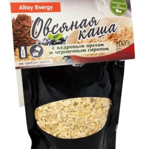 """Каша овсяная """"Altay Energy"""" с кедровым орехом и черничным сиропом, не требующая варки, 200 г"""
