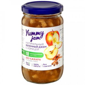 "Джем ""Yummy jam"" Яблочный с корицей без сахара, 350 г"