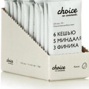 """Батончик фруктово-ореховый """"CHOICE NO COMMENTS"""" Кокос, 45 гр"""