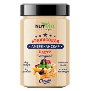 """Паста """"Американская"""" арахисовая сладкая, без сахара """"NutVill"""", 180 г"""