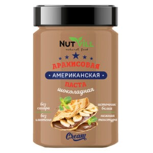 "Паста ""Американская"" арахисовая шоколадная, без сахара ""NutVill"", 180 г"