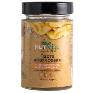 """Паста арахисовая с кусочками арахиса и морской солью """"NutVill"""", 180 г"""