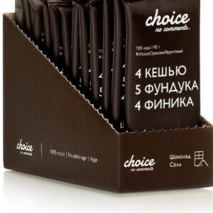 """Батончик фруктово-ореховый """"CHOICE NO COMMENTS"""" Шоколад-соль, 45 гр"""